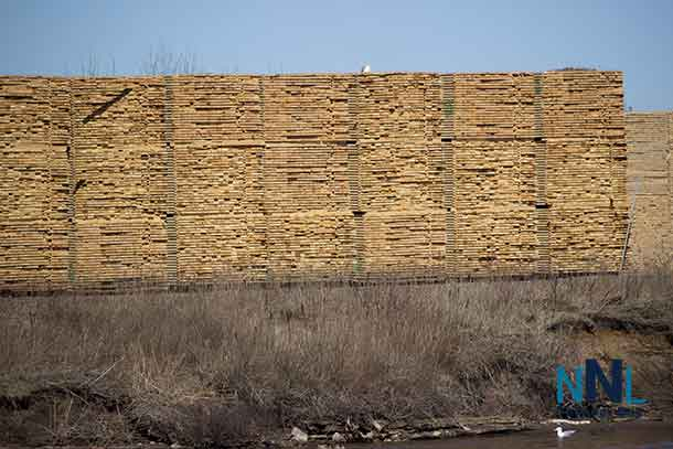 Lumber stacked at Mission Sawmill in Thunder Bay Ontario