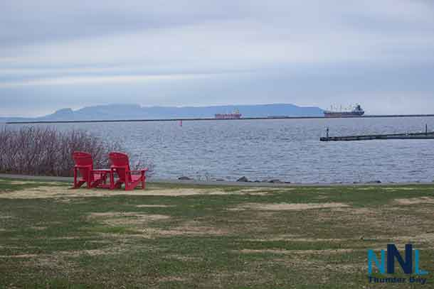 Ships in Port of Thunder Bay - The Federal Ruhr, the Federal Welland, and the Canada Steamship Lines St Laurent - shot at Marina Park in Thunder Bay