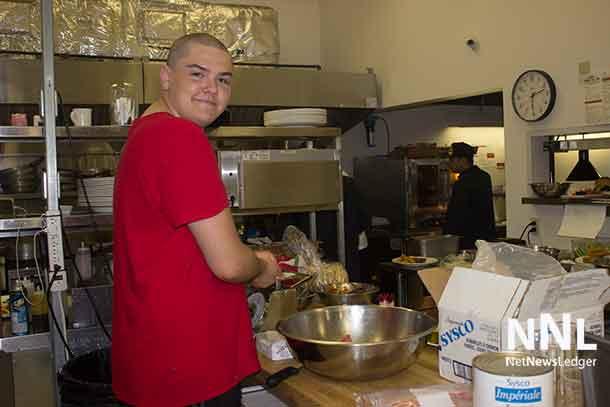 Making the Angus beef hamburgers in the kitchen...