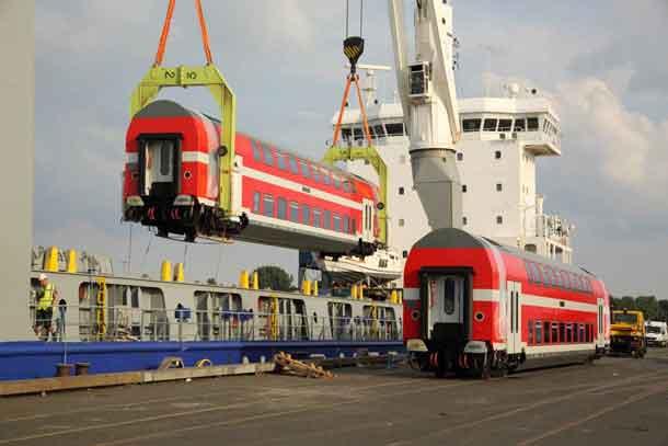 BOMBARDIER TWINDEXX Vario double-deck coaches for Israel Railways at Bremen harbour Photo credits: Jürgen Hörstel