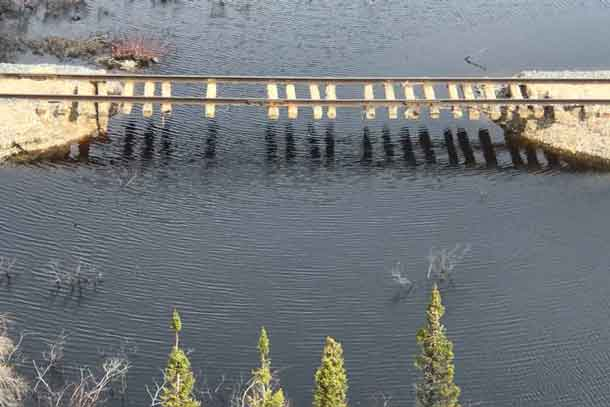 Image of damage caused by flooding to the OMNITRAX rail line - Supplied by OM ITRAX