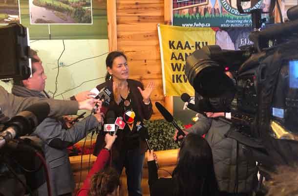 MMIWG National Inquiry Commissioner Michelle Audette speaks to media in Thunder Bay