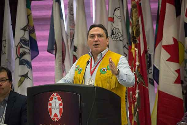 AFN National Chief Perry Bellegarde speaking at the 2018 Nishnawbe Aski Nation Winter Chiefs Assembly in Thunder Bay Ontario