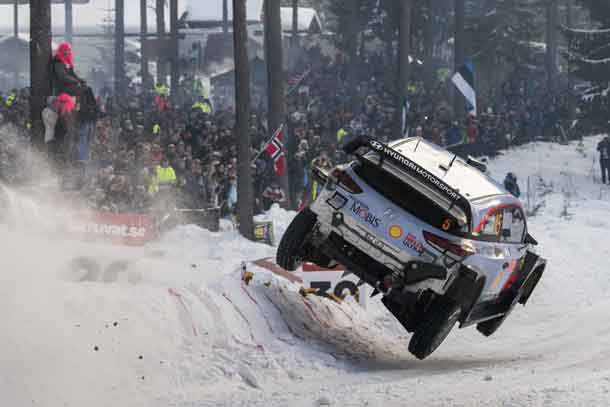 Thierry Neuville (BEL) performs during FIA World Rally Championship 2018 in Torsby, Sweden on 17.02.2018 // Jaanus Ree/Red Bull Content Pool