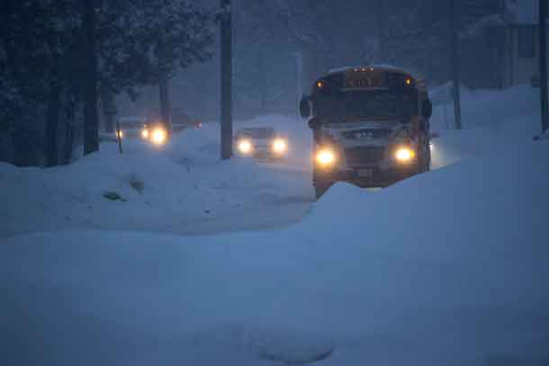 Roads in and around Thunder Bay are snow covered. Drive with care today - and everyday.