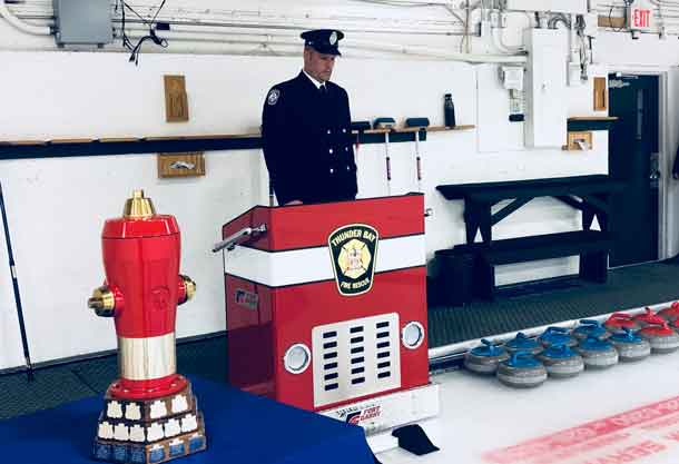 Kevin Anderson, of the Thunder Bay Fire Rescue at the opening ceremonies of the Canadian Firefighters Curling Championships