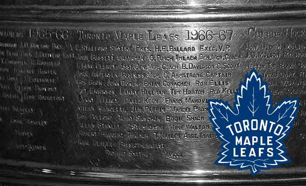 Toronto Maple Leafs names on the Stanley Cup from 1967