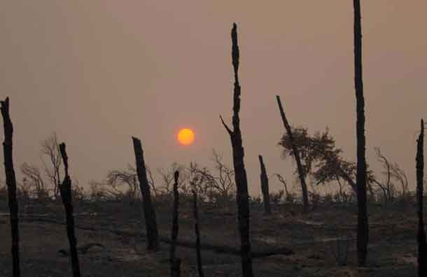 The sun sets over hills burned by the Carr Fire west of Redding, California, U.S. July 28, 2018. REUTERS/Bob Strong