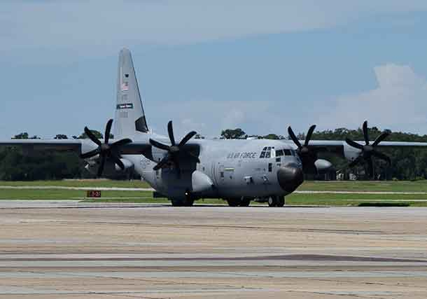 An Air Force Reserve 53rd Weather Reconnaissance Squadron WC-130J Super Hercules aircraft departs Keesler Air Force Base, Miss., to operate out of Savannah/Hilton Head International Airport, Savannah, Ga., Sept. 9, 2018. The airmen were flying reconnaissance missions into Hurricane Florence. Air Force photo by Lt. Col. Marnee A.C. Losurdo