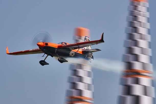 Nicolas Ivanoff of France performs during the finals at the sixth round of the Red Bull Air Race World Championship in Wiener Neustadt, Austria on September 16, 2018. // Andreas Langreiter / Red Bull Content Pool