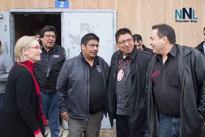 INAC Minister Bennett, Chief Moonias, NAN Grand Chief Fiddler, AFN National Chief Bellegarde at Neskantaga FN Water Plant