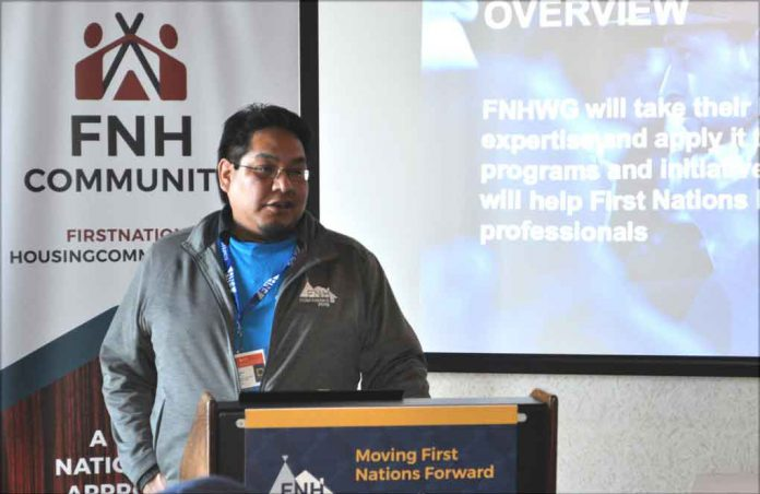 """""""Clarence Meekis, member of the First Nations Housing Working Group, announces the launch of the First Nations Housing Community/Association."""""""