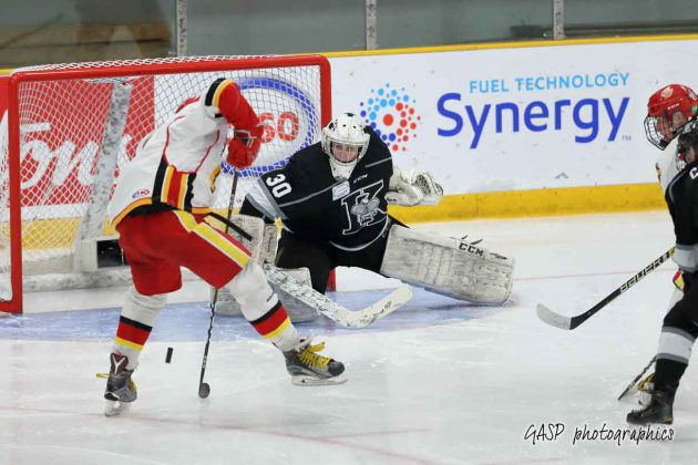 The Kings Eric Vanska makes the stick save off a wrist shot by Halifax's Mitch Comeau