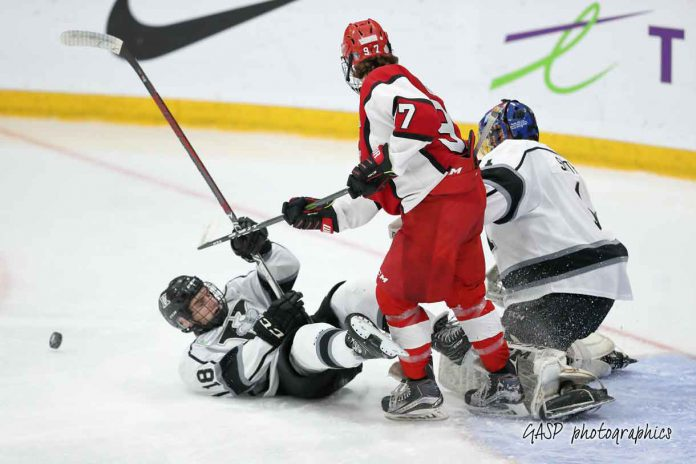 MacKenzie Sedgwick loses his footing against Toronto's Elias Cohen following a save and rebound by the Kings Jordan Smith
