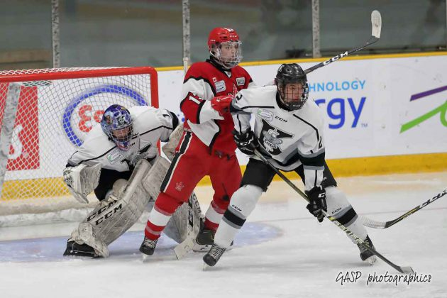 Kings netminder, Jordan Smith, tries to keep an eye on the puck through a screen set up by Toronto's Daniel Torrealba in 2nd period action