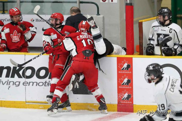 Toronto's Grant Mansfield and Thomas Harbour attempt to put the Kings Nicholas DeGrazia over the boards in 2nd period action.