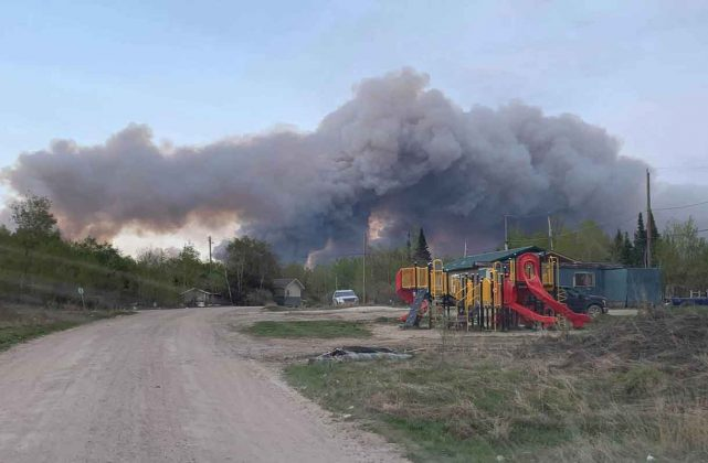 Smoke filling the sky in Pikangikum - shot from earlier today.