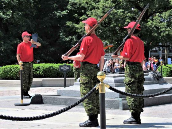 Corporal Angus Sutherland reads out orders for two new guards.