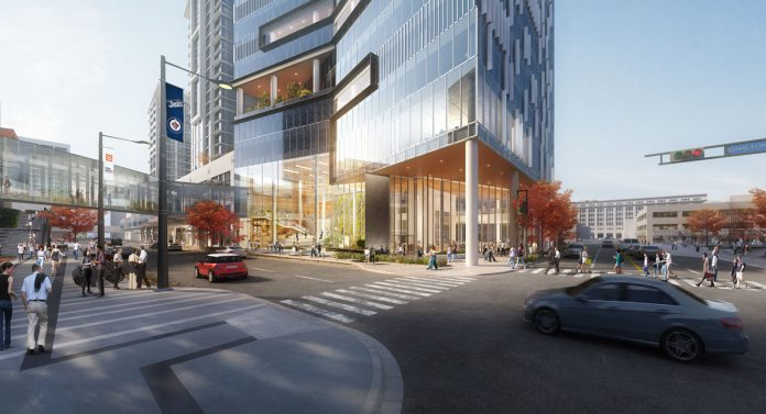 Street rendering of North American headquarters in fifth tower at True North Square