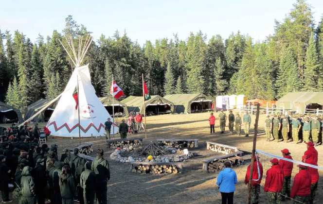 Junior Canadian Rangers are joined by Canadian Rangers and other members of the Canadian Armed Forces at the opening ceremony on the first day of last year's Camp Loon.