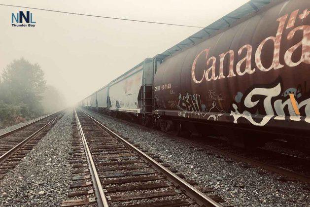 Railways cars and fog in Thunder Bay