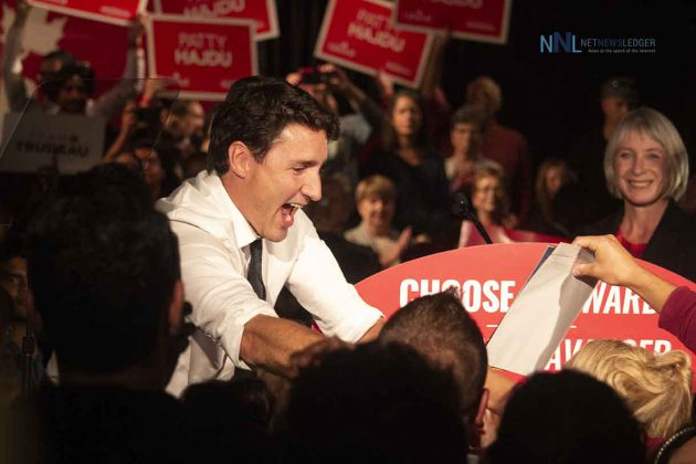 A Jubilant Justin Trudeau after his rally in Thunder Bay at The Outpost at Lakehead University
