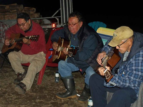 A musical reunion happened by the Batisse brothers during campfire teachings at the Traditional Moose Camp which was held near Matachewan FN from October 4 to 6. This was the first time the trio had performed together in some 25 years. From L-R: past Chief Alex 'Sonny' Batisse, David Batisse and past Chief and Elder Mario Batisse.