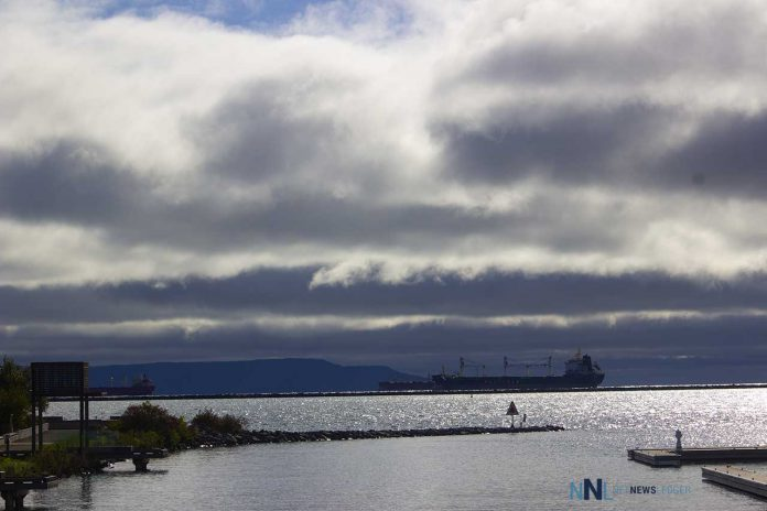Looking out at a ship in the bay - photo taken from the Delta by Marriott at the Thunder Bay Waterfront