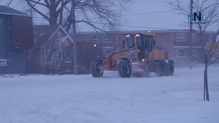 Thunder Bay Roads crews are out clearing the snow
