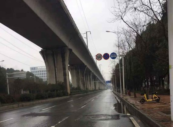 Roadways in Wuhan City are virtually empty.