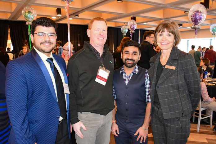 Students received over $300,000 in scholarships, bursaries and awards thanks to generous donors. From left, Student Recipient Gaurav Ganjoo, Donor and President of LH North Tom McClement, Student Union President Vignesh Viswanathan and Confederation College President Kathleen Lynch