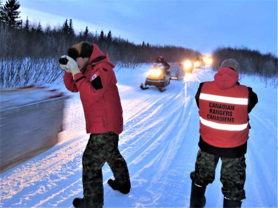 Canadian Rangers who were unable to participate in the exercise and residents of Attawapiskat greet the patrol on it return to the community, credit Sergeant Peter Moon, Canadian Rangers