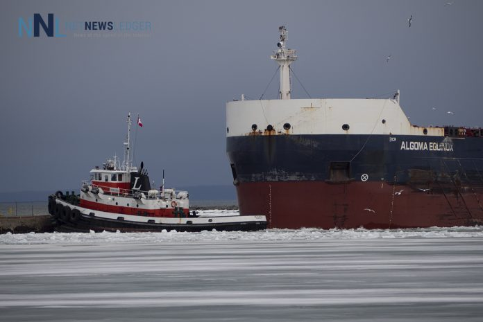 Algoma Equinox Docking March 30 2020 at Richardson Elevator - Harbour Ice is open and Dangerous