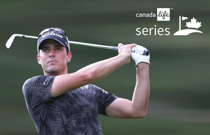 LONDON,ON - SEPTEMBER 15: James Allenby plays in the Fourth Round in the Canada Life Championship on the MacKenzie Tour on September 15, 2019 at Highland Country Club in London, Ontario, Canada. Photo by Claus Andersen/MacKenzie Tour