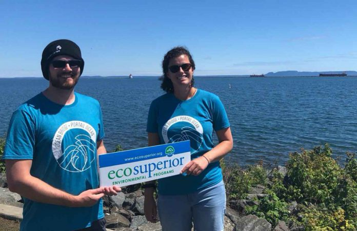 Simon Boudreault & Kelsey Herglotz; Two participants with OceanBridge Direct Action are heading to Poryphry Island to support research for marine conservation, with EcoSuperior and CLLS. Photo Credit: Sue Hamel, EcoSuperior (2020)