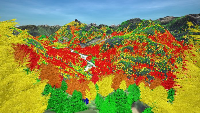 LlamaZOO's TimberOps software visualizing tree canopy height on Mowachaht/Muchalaht First Nation territory
