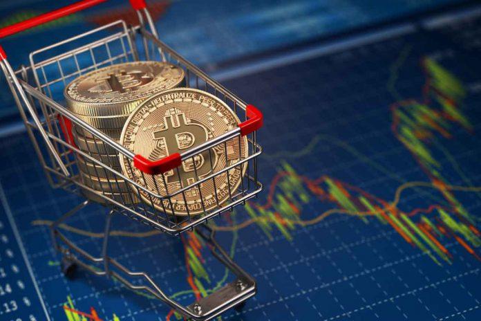 Bitcoin BTC coins in the shopping cart