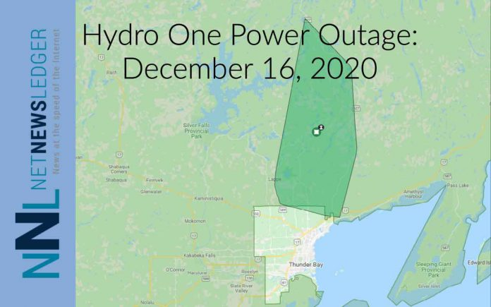 December 16, 2020 Hydro One reports almost 500 customers without power
