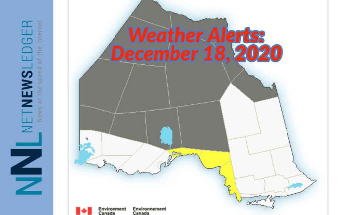 Weather Warnings and Advisories December 18, 2020