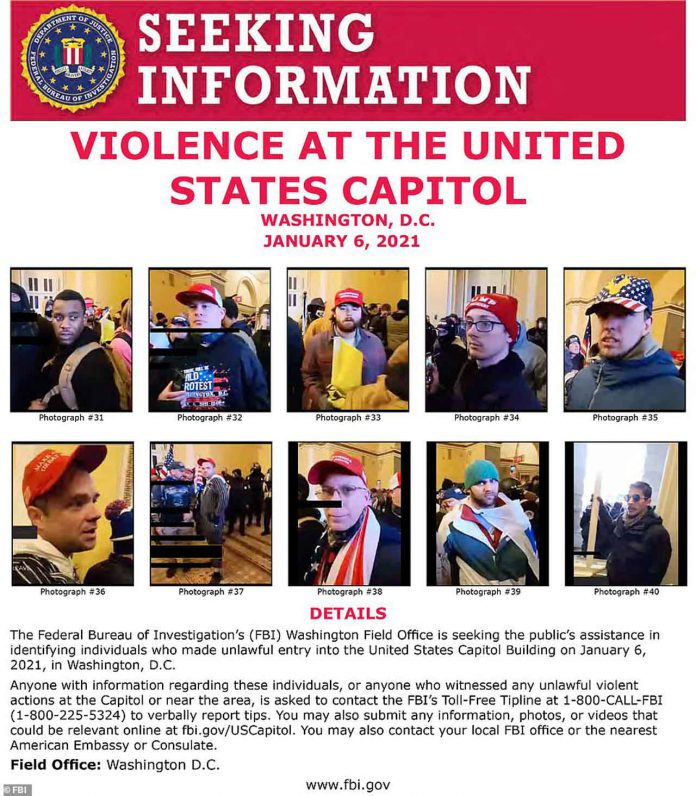 FBI Wanted Poster Capital Hill Riot
