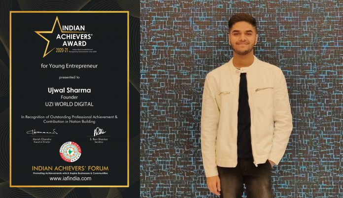 Ujwal Sharma won the prestigious Indian Achievers' Award for Young Entrepreneur