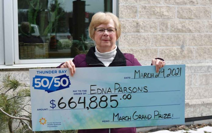 Thunder Bay 50/50: Edna Parsons takes home $664,885 in March Grand Prize Draw