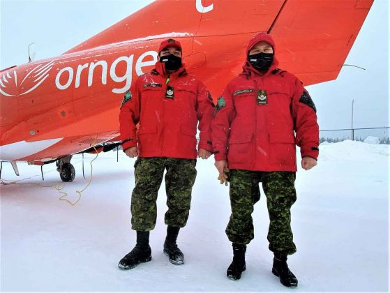 Sergeant Matthew Gull and Master Corporal Pamela Chookomoolin were part of the Canadian Ranger team assisting a medical team from Ornge during COVID vaccinations in Peawanuck. credit Master Corporal Jason Hunter