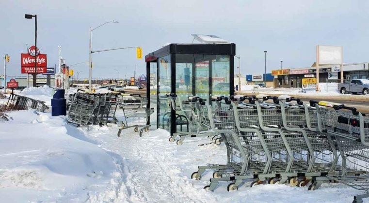 In Winter, shopping carts left abandoned end up blocking sidewalks and snow clearing
