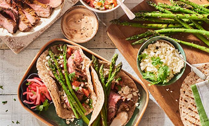 Grilled Asparagus and Steak Tacos