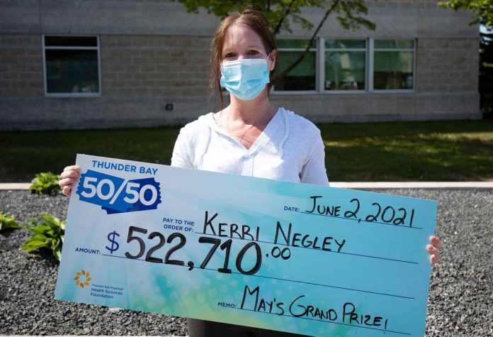 erri Negley from Kakabeka won last month's Thunder Bay 50/50, taking home the $522,720 cash jackpot. This is the final week to purchase tickets into June's Grand Prize draw, taking place on Friday, June 25th. June's Grand Prize is nearly $400,000 and rising by the minute!