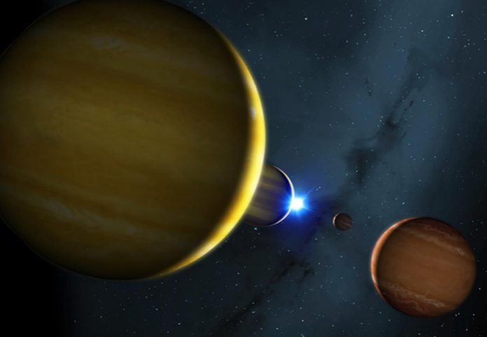 Artist's impression of the four planets of the HR 8799 system and its star