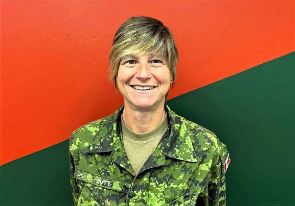 Sergeant Janet Butt is the first female Canadian Ranger Instructor in Ontario. credit Master Warrant Officer Carl Wolfe, Canadian Rangers