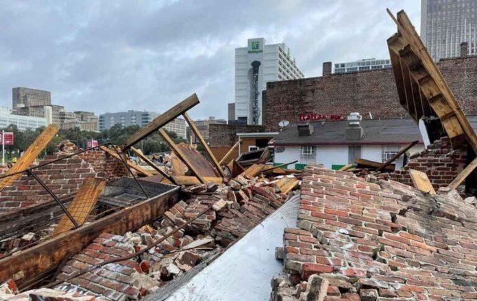 The Karnofsky shop suffers severe damage after Hurricane Ida pummeled New Orleans with strong winds in Louisiana, U.S., August 30, 2021. REUTERS/Devika Krishna Kumar